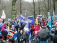 Participants take part in the All Under One Banner (AUOB) march demanding Scottish independence as it starts in Kelvingrove Park before setting off through Glasgow. Picture by Davy Tolmie/PA Wire  NOTE TO EDITORS: This handout photo may only be used in for editorial reporting purposes for the contemporaneous illustration of events, things or the people in the image or facts mentioned in the caption. Reuse of the picture may require further permission from the copyright holder.