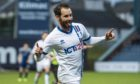 James Keatings celebrates scoring for Inverness.