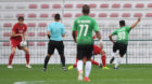 Ahmad Samir scores the only goal of the game for Al Wehdat.