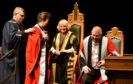 The Duchess of Rothesay, chancellor of Aberdeen University, awarding honorary degree to Princess Anne