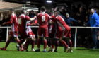 Formartine celebrate Gethins' goal. Pictures by Jim Irvine