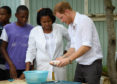 Photo by Tim Rooke/Shutterstock (7450855bx) Prince Harry dissects a fish during a visit to Sir McChesney High School in Barbuda Prince Harry visit to the Caribbean - 22 Nov 2016