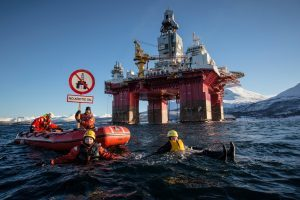 Activists near the Songa Enabler protesting against Statoil and the Norwegian government for opening up a new oil frontier in the Arctic. Picture by Will Rose, Greenpeace
